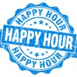 Stock Photo: Happy hour blue grunge seal isolated on white background