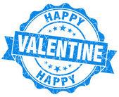 Happy Valentine blue grunge seal isolated on white background — Stock Photo