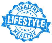 Healthy lifestyle blue grunge seal isolated on white background — Stock Photo