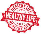 здоровый образ жизни, красный гранж печать, изолированные на белом фоне — Стоковое фото