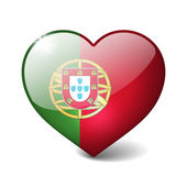 Portugal 3d glass heart with realistic shadow isolated on white — Stock Photo