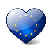 European union 3d glass heart with realistic shadow isolated on white — Stock Photo