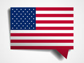 USA flag paper 3d realistic speech bubble on white background — Stock Vector