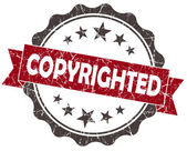 Copyrighted red grunge vintage seal isolated on white — Stock Photo