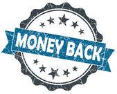 Money BACK blue grunge vintage seal isolated on white — Stockfoto