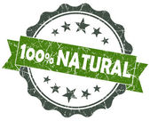 NATURAL green grunge vintage seal isolated on white — Foto Stock