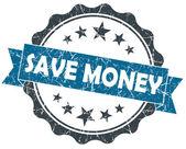 Para mavi grunge vintage mührü üzerinde beyaz izole kaydetmek — Stok fotoğraf