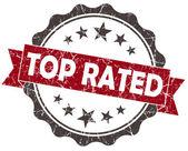 评分最高的孤立的白色衬底上的红色摇滚复古密封 — 图库照片