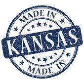 Kansas mavi yuvarlak grunge izole damgalamak içinde yapılan — Stok fotoğraf