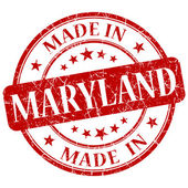 Made in maryland rot runde grunge isoliert-briefmarke — Stockfoto