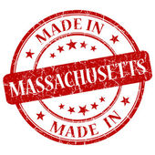 Made in Massachusetts red round grunge isolated stamp — Foto Stock