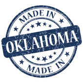 Made in Oklahoma blue round grunge isolated stamp — Stock Photo