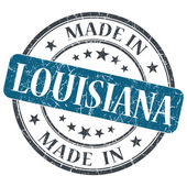 Made in Louisiana blue round grunge isolated stamp — Stock Photo
