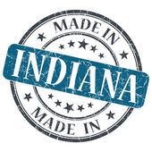 Made in Indiana blue round grunge isolated stamp — Stock Photo