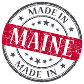 Made in Maine red round grunge isolated stamp — Stock Photo