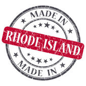 Made in Rhode Island red round grunge isolated stamp — Stock Photo