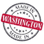 Made in Washington red round grunge isolated stamp — Стоковое фото