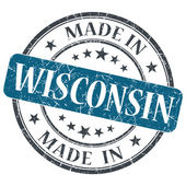 Made in Wisconsin blue round grunge isolated stamp — Stock Photo