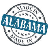 Made in Alabama blue round grunge isolated stamp — Stock Photo