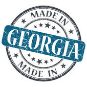 Made in Georgia blue round grunge isolated stamp — Stock Photo