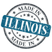 Made in Illinois blue round grunge isolated stamp — Stock Photo