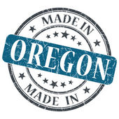 Made in Oregon blue round grunge isolated stamp — Stock Photo
