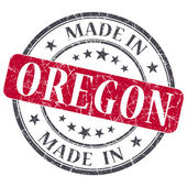 Made in Oregon red round grunge isolated stamp — Stock Photo