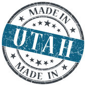 Made in Utah blue round grunge isolated stamp — Стоковое фото