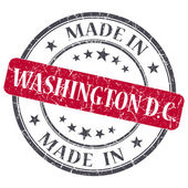 Made in Washington DC red round grunge isolated stamp — Stock Photo