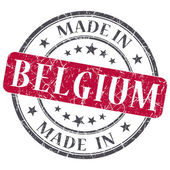 Made in Belgium red grunge round stamp isolated on white background — Foto de Stock