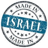 Made in Israel blue grunge round stamp isolated on white background — Stock Photo