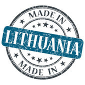 Made in LITHUANIA blue grunge stamp isolated on white background — Stock Photo