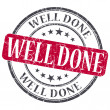 Well Done red grunge round stamp on white background — Stock Photo