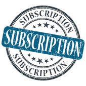 Subscription blue grunge round stamp on white background — Stock Photo