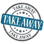 Take Away blue grunge round stamp on white background — Stock Photo