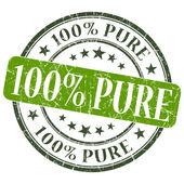 100 Pure green grunge round stamp on white background — Foto Stock