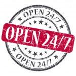 Open 24 7 red grunge round stamp on white background — Stock Photo