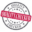 Quality Checked red grunge round stamp on white background — Stock Photo