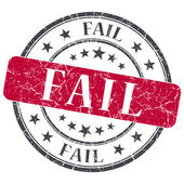 Fail red grunge round stamp on white background — Foto Stock