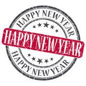 šťastný nový rok červené grunge kulaté razítko na bílém pozadí — Stock fotografie