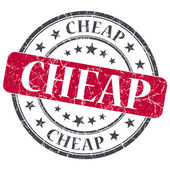 Cheap red grunge round stamp on white background — Stock Photo
