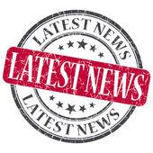 Latest News red grunge round stamp on white background — Stock Photo