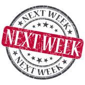 Next Week red grunge round stamp on white background — Stockfoto