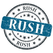 Rush blue grunge round stamp on white background — ストック写真