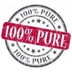 100 puro grunge vermelho redondo selo no fundo branco — Fotografia Stock  #42325809