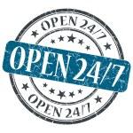 Open 24 7 blue grunge round stamp on white background — Stock Photo
