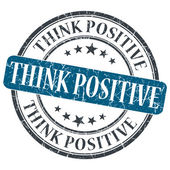 Think Positive blue grunge round stamp on white background — Stock Photo