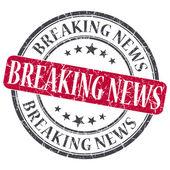 Breaking News red grunge round stamp on white background — Stock Photo