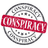 Conspiracy red grunge round stamp on white background — Stock Photo