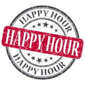 Happy Hour red grunge round stamp on white background — Stock Photo